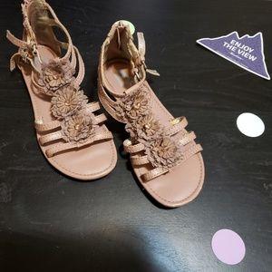Mauve flower decal sandals